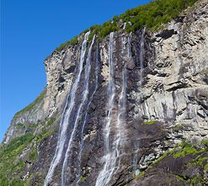 A waterfall in Geirangerfjord
