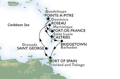 Martinique, Guadeloupe, Saint Lucia, Barbados, Trinidad and Tobago, Grenada, Dominica
