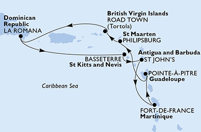 Guadeloupe, St. Maarten, Virgin Islands (British), Dominican Republic, Saint Kitts and Nevis, Antigua and Barbuda, Martinique
