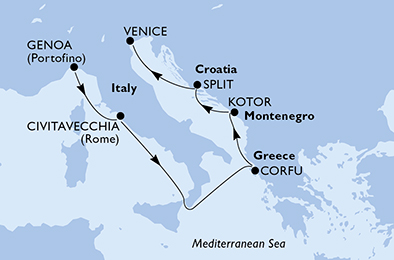 Italy, Greece, Montenegro, Croatia