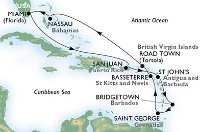United States, Puerto Rico, Antigua and Barbuda, Barbados, Grenada, Saint Kitts and Nevis, Virgin Islands (British), Bahamas