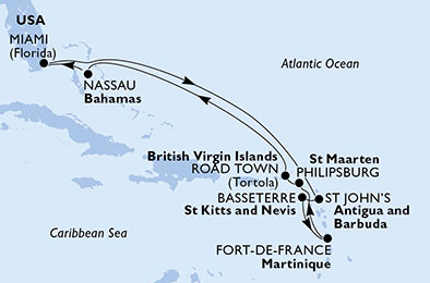 United States, Antigua and Barbuda, Saint Kitts and Nevis, Martinique, St. Maarten, Virgin Islands (British), Bahamas