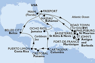 United States, Jamaica, Colombia, Panama, Costa Rica, Belize, Bahamas, Antigua and Barbuda, Saint Kitts and Nevis, Martinique, St. Maarten, Virgin Islands (British)