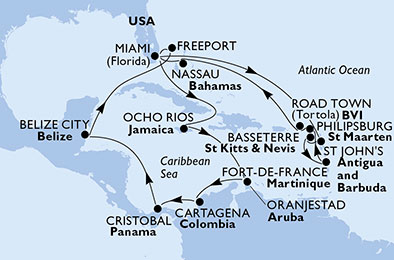 United States, Antigua and Barbuda, Saint Kitts and Nevis, Martinique, St. Maarten, Virgin Islands (British), Bahamas, Jamaica, Aruba, Colombia, Panama, Belize
