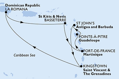 Martinique, Guadeloupe, Antigua and Barbuda, Saint Vincent & The Grenadines, Dominican Republic, Saint Kitts and Nevis