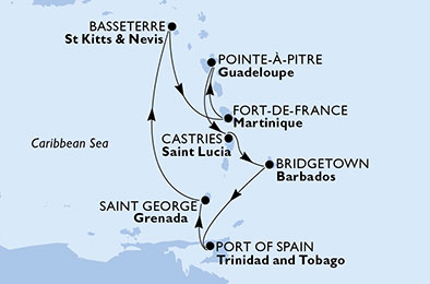 Martinique, Guadeloupe, Saint Lucia, Barbados, Trinidad and Tobago, Grenada, Saint Kitts and Nevis