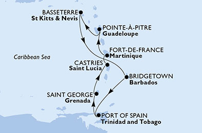 Martinique, Guadeloupe, Saint Kitts and Nevis, Barbados, Trinidad and Tobago, Grenada, Saint Lucia