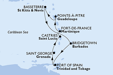 Guadeloupe, Saint Kitts and Nevis, Barbados, Trinidad and Tobago, Grenada, Saint Lucia, Martinique