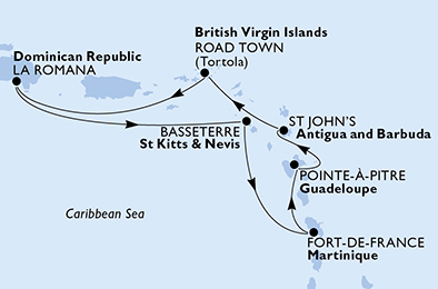 Guadeloupe, Antigua and Barbuda, Virgin Islands (British), Dominican Republic, Saint Kitts and Nevis, Martinique