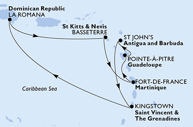 Guadeloupe, Antigua and Barbuda, Saint Vincent & The Grenadines, Dominican Republic, Saint Kitts and Nevis, Martinique