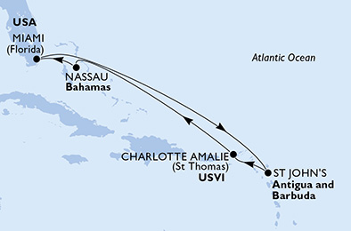 United States, Antigua and Barbuda, Virgin Islands (U.S.), Bahamas