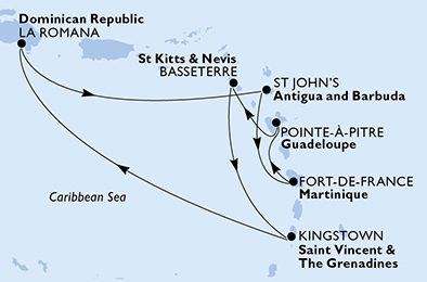 Guadeloupe, Saint Kitts and Nevis, Saint Vincent & The Grenadines, Dominican Republic, Antigua and Barbuda, Martinique