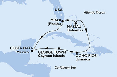 United States, Bahamas, Jamaica, Cayman Islands, Mexico