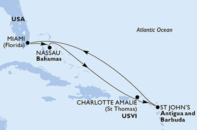 United States, Bahamas, Virgin Islands (U.S.), Antigua and Barbuda