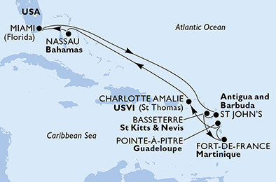 United States, Antigua and Barbuda, Saint Kitts and Nevis, Martinique, Guadeloupe, Virgin Islands (U.S.), Bahamas