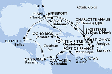 United States, Antigua and Barbuda, Saint Kitts and Nevis, Martinique, Guadeloupe, Virgin Islands (U.S.), Bahamas, Jamaica, Aruba, Colombia, Panama, Belize