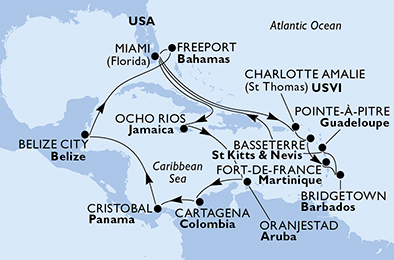 United States, Jamaica, Aruba, Colombia, Panama, Belize, Bahamas, Virgin Islands (U.S.), Saint Kitts and Nevis, Martinique, Barbados, Guadeloupe